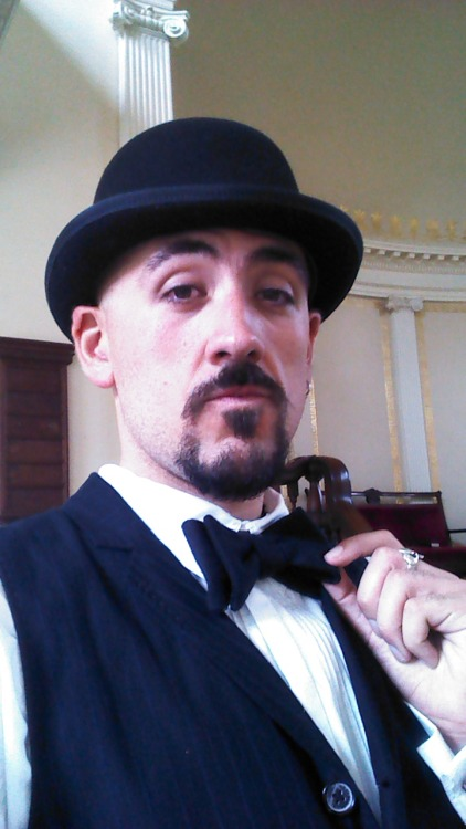 Today I'm playing an extra for a shoot at work. I am a 1910 gentlemen attending a church redecoration by Woodrow Wilson…I love my job