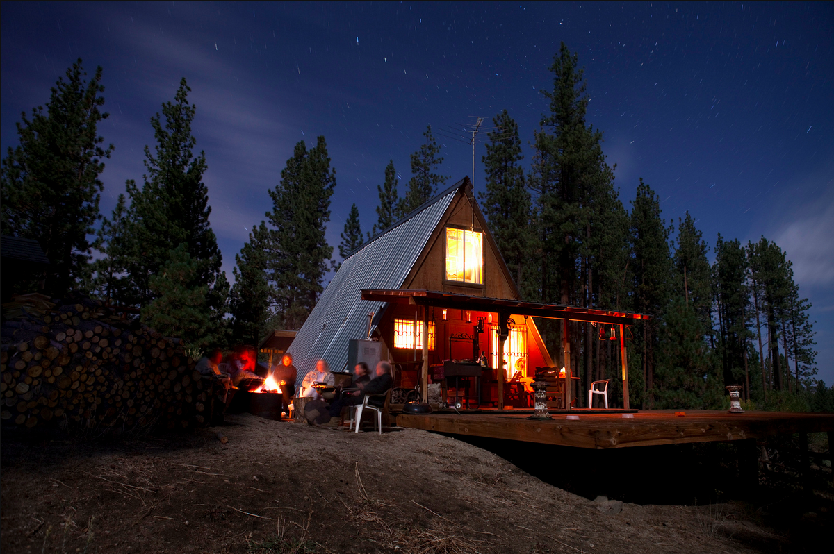 cabinporn:  A-frame in Claraville, California near Sequoia National Forest. Photograph by Aaron Chervenak, who is about to set off to hike, pedal and paddle 9000km across Brazil.  Follow along here.