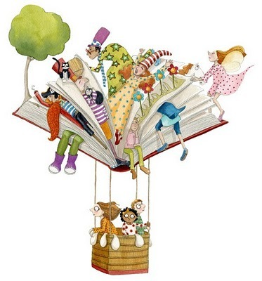 "booksdirect:  ""Traveling with Books"" - illustration by Momo Carretero"