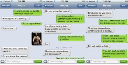Text Mess: Bodybuilding to be like Bane