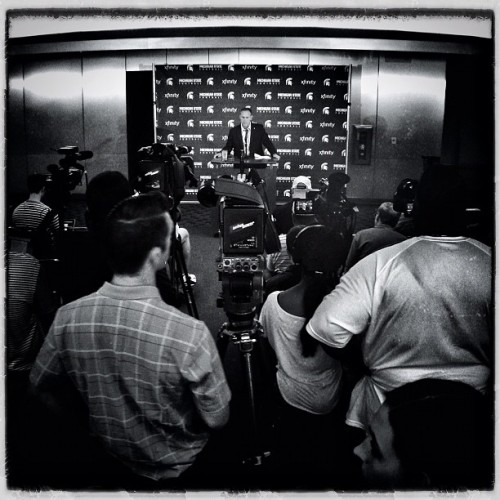Dantonio press conference #iphone #hipstamatic #olloclip #snapseed #msu #football #spartans #spartanstadium  (Taken with Instagram at Spartan Stadium)