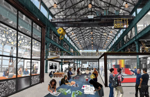 "nycedc:   ""At the Brooklyn Navy Yard, industrial buildings are being rejuvenated so that people can do what they always did there: make things."" - Justin Davidson, New York Magazine  Manufacturing is making a comeback in Brooklyn. The borough, which in recent years has become synonymous with the artisanal revolution, is returning to its industrial roots with a 21st century spin. On a 300-acre plot of land between Williamsburg and DUMBO lies the remnants of the Brooklyn Navy Yard. This summer, construction began, transforming several existing buildings in the Navy Yard into Green Manufacturing Center, which is expected to be completed in 18 months, and The New Lab, a collaborative design and fabrication laboratory that already has several tenants lined up. While Brooklyn manufacturers are no longer turning out spools of thread on an assembly line, modern technology has enabled the return of manufacturing, and with it, jobs.  Read more in MetroFocus: ""A Manufacturing Renaissance at the Brooklyn Navy Yard"" and learn about NYCEDC's Industrial initiatives. Rendering courtesy of Macro Sea"