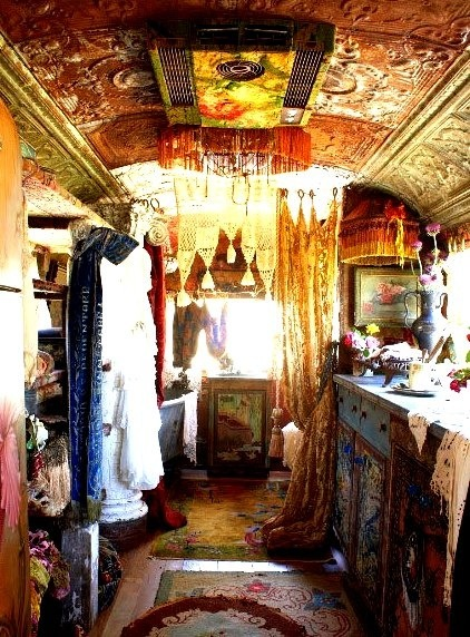 Interior of a traditional gypsy vardo