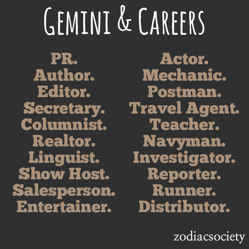 zodiacsociety:  Gemini Career Ideas  Dear irl friends, I got actor. -_-