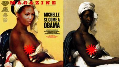 "Racist or Artistic? A Spanish publication, Magazine de Fuera de Serie, released their cover of Michelle Obama's head superimposed on the body of a slave with the headline, ""Michelle Granddaughter of a Slave, Lady of America."" the picture is one in a series by artist Karine Percheron-Daniels of famous people's heads —  Princess Diana, Queen Elizabeth II, Abraham Lincoln, and President Barack Obama. Karine says she's sure Michelle would ""love"" the picture and she hopes the president's wife sees it one day. [via OK! Magazine]"
