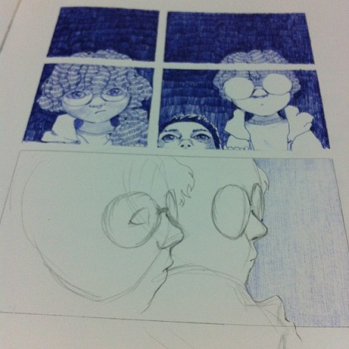 fatmalovestodraw:  WIP. It's 7pm! I've made it, I'm still awake.. Half awake. (Taken with Instagram)