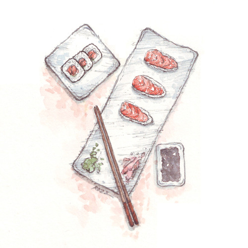 "dailysushi:  Guest Artist: ""Eating sushi"" by Rozzhew For more of Rozzhew's work, you can visit this Tumblr"
