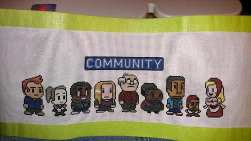 community-overdose:  I just finished my 8bit x-stitch.Click for the best Community tumblr ever.