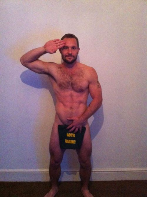 Some hot, beefy tattooed British military studs from the Facebook page: Support Prince Harry with a naked salute!