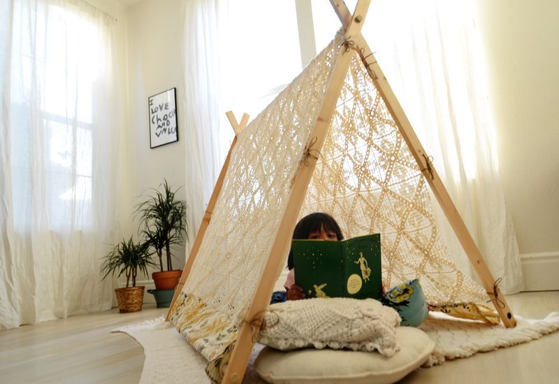 Do your kiddos need a quiet reading spot? Check out this tutorial to build your very own A-Frame tent.