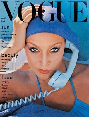 Jerry Hall on the cover of UK Vogue (May 1975)