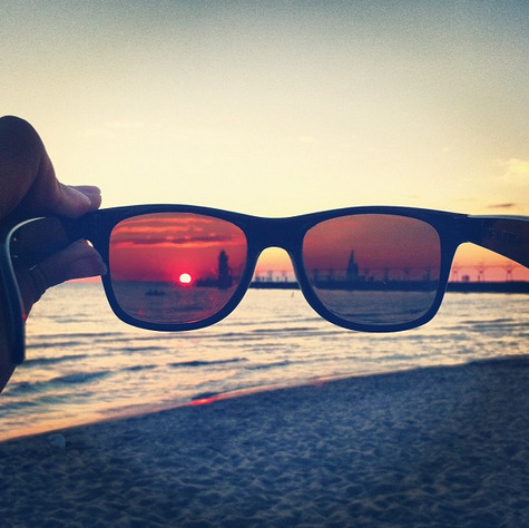 Tip for shooting a sunset with your phone: Your sunglasses are a tool. Use them like you would an ND filter.   {Took this shot in South Haven, MI}