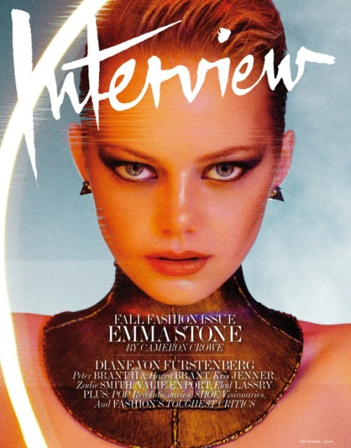"Check out Emma Stone in the latest issue of Interview! Emma sits down with director Cameron Crowe and talks about how she hasn't figured out the whole ""fame thing"" yet."