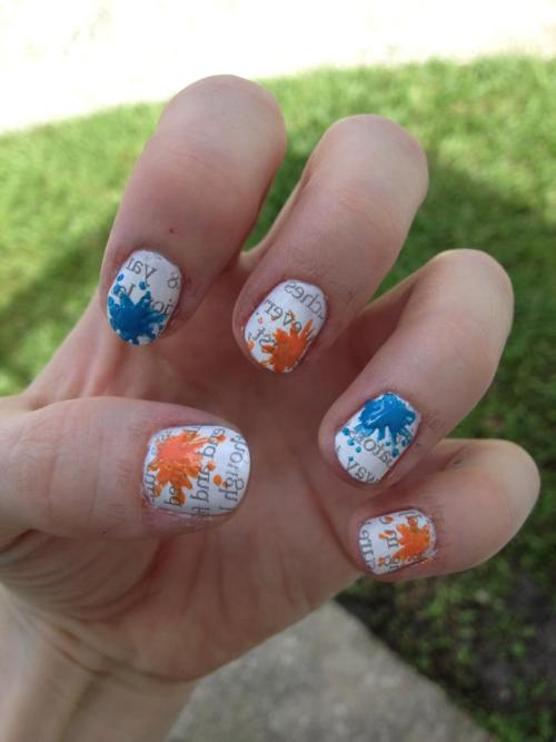 Hey guys, it's been awhile.. But here's my Gator newsprint nails just in time for football season