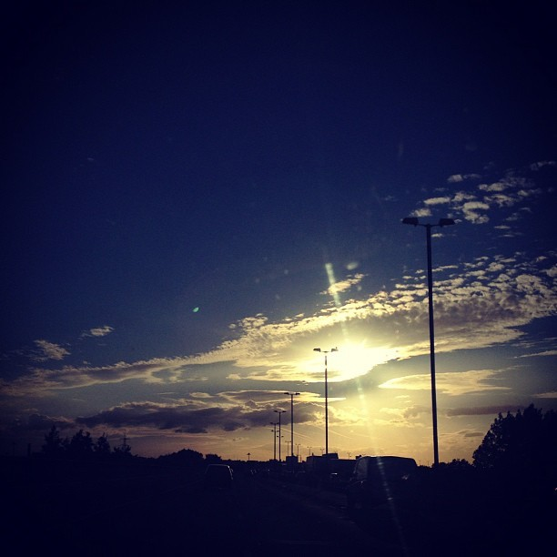 On our way to Brum again. To see the Flatliners and AWS! #sky #sun #august #summer #evening (Taken with Instagram)