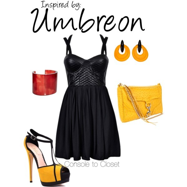 Umbreon (Pokemon Series) by ladysnip3r featuring resin bangles This outfit is inspired by Umbreon of the Pokemon games. I chose a black dress with yellow accessories. I also chose earrings that have a similar shape to Umbreon's spots and a red bracelet that matches it's eyes. (Reference Image) Dress / Stiletto heels, $155 / Monies  jewelry, $115 / French Connection resin bangle