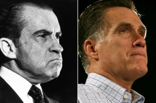 "wilwheaton:  Romney is (as far as we know) not the steel-cold sociopath that Nixon was. I'm not comparing the two men personally. In that way they're quite different. Nixon, who grew up poor and fought his way into higher society while developing sharp distrust and raging hatred for Jews and elites, embodied white middle-class revenge far more naturally than Romney does. He's too dorky and entitled to really seethe with that hatred, go to sleep with it and wake up with it, the way Nixon did. And yet, different as they are, their campaigns, their appeals, are undeniably similar: Nixon led, and Romney is now leading, a vengeance campaign against an Other America, an America their supporters despise. Romney's is a campaign that seeks to win, that can only win, by dividing the country into an ""us"" and a ""them."" I confess that I've been genuinely shocked by the baldness of Romney's lies about welfare and Medicare and about the way he's racialized this campaign. I guess that's precisely because, whatever he seemed, he did not seem sinister like Nixon. And he may not be. But he is clearly a man who will do and say anything to be president. With Romney's likability at record lows, Republicans appear to have given up on getting America to like their candidate. Instead, they'd rather divide and conquer like it's 1968. (via Michael Tomasky on How Tricky Mitt Romney Is Aping Richard Nixon)"