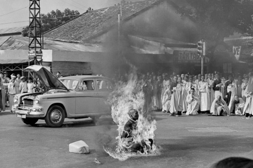 timelightbox:  June 11, 1963. Quang Duc, a Buddhist monk, burns himself to death on a Saigon street  to protest alleged persecution of Buddhists by the South Vietnamese government. Photographer Malcolm Browne, known for his shocking and iconic image of a self-immolating monk in Saigon, died on Monday at the age of 81. Last year, Browne spoke with TIME international picture editor Patrick Witty from his home in Vermont. Read the interview and see more rare photos of that day here.