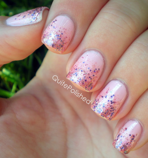 "Glitter gradient with Serum No. 5 Spring Into Love and China Glaze Go Go Pink, because who doesn't love a glitter gradient?  Spring into love is a ""pink glitter polish with opalescent flakies, micro shimmer, gold glitter, and fine purple glitter."" It's also described as a pink version of Deborah Lippmann Mermaid's Dream, which I think is a pretty accurate description. It's definitely a gorgeous polish! Spring Into Love can be purchased here. If you have any questions regarding her polish you can find Serum No. 5 on Facebook, Tumblr, and Etsy. Also, every month Serum No. 5 will make a donation to the Make A Wish Foundation in an amount equal to 20% of the proceeds of all lacquers sold. This polish was sent to me for review. All opinions expressed in this post are my own."