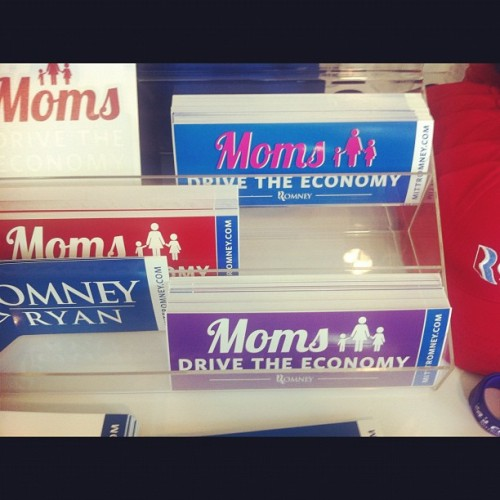 soupsoup:  Moms for Romney/Ryan #rnc2012 (Taken with Instagram at 2012 Republican National Convention)  LOLOLOL Gender Politics. Even though women make up the majority of poor folk, women of colour especially and this rat bastard is the same dude that said he's not concerned about the very poor, he still wants to slap his name on something to get the approval of women. Even though his running mate is an antichoice, antiwoman piece of rotting shit stuck in the 19th century, they still want us to believe this shit?