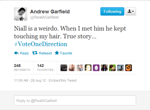 1dsimplebut-effective:  as if I didn't love Andrew Garfield enough already. #VoteOneDirection