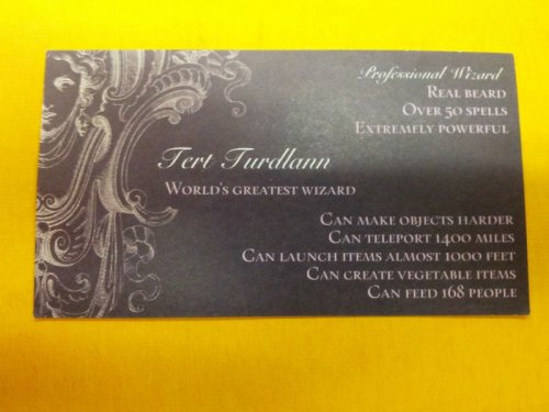 Wizard Business Card But if you get to 169 people, they'll all go hungry.