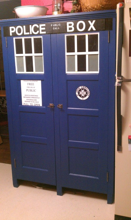 My husband and I turned an antique cupboard into an awesome TARDIS. It is the first thing you see when you walk into our house…makes me smile every time!  submitted by chrisgirty