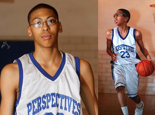 New Orleans Hornets #1 Overall Pick - Anthony Davis - when he was a 6'2 middle-schooler with glasses. (Via: Reddit)