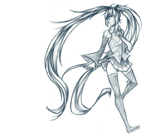 Sketched a really weird-looking Miku Miku at school today! (Anipan)