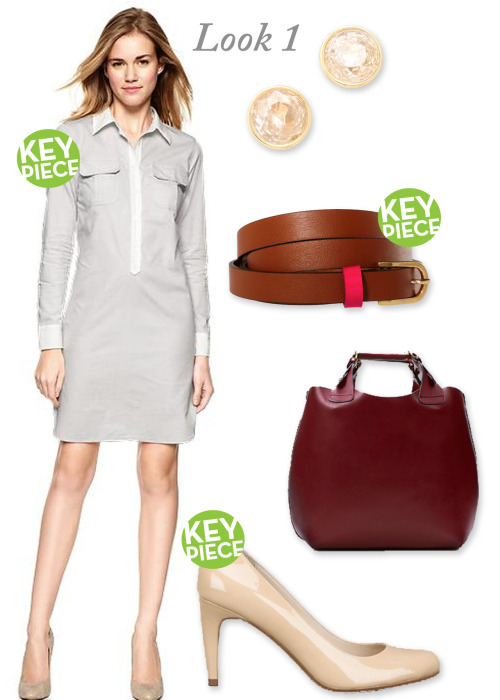 WORKING MOM LOOK 1 Gap Shirt Dress; Michael Kors Stud Earrings; Asos Skinny Belt; Zara Shopper Tote; Michael Michael Kors Pumps;