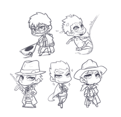 Falko, Dylan, Jason, Javier and Trevor <3Cute chibis for cute pins! ^0^ <3We're working for our first convention~ <3 <3 Hope you like it!