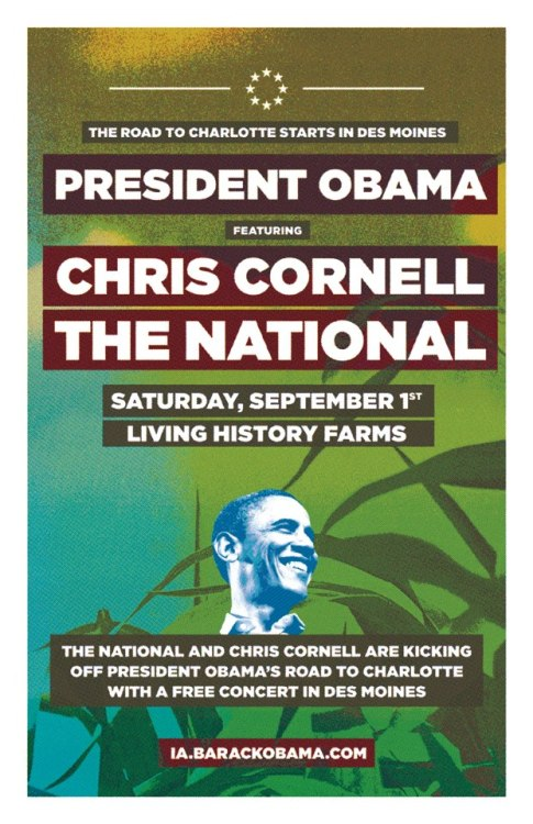 Chris Cornell, the National to open for President Barack Obama Sept. 1 in Des Moines
