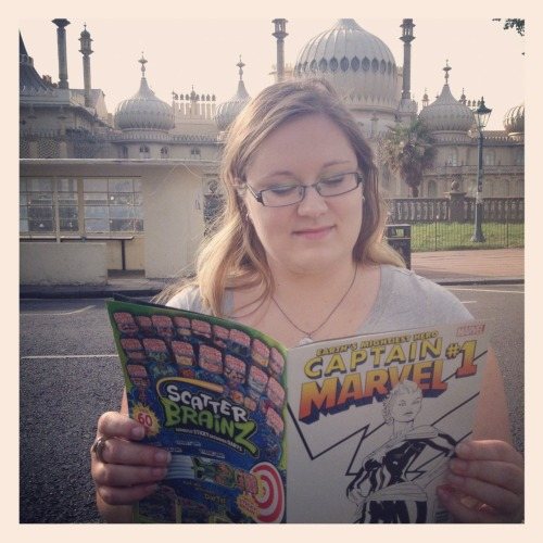 gailsimone:  womenreadcomicsinpublicagain:  Karen reading Captain Marvel in front of Brighton Pavilion, Brighton, UK.  A female-written comic, about a female superhero, full of her relationships with other awesome women?  Yes, more of this, please.  Aw, I miss you, Karen!  I miss you too!  Come back to the UK, dangit. ;)
