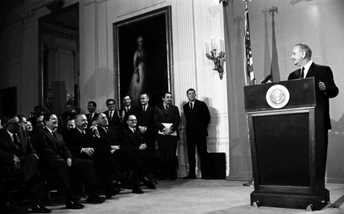 """At its best, public television would help make our Nation a replica of the old Greek marketplace, where public affairs took place in view of all the citizens."" -President Lyndon B. Johnson  On this day in 1967, LBJ signed the Public Broadcasting Act (S.1160). Photo: President Lyndon B. Johnson delivering remarks prior to the signing in the East Room of the White House.  November 7, 1967. Read the full remarks at the American Presidency Project. -from the LBJ Library"