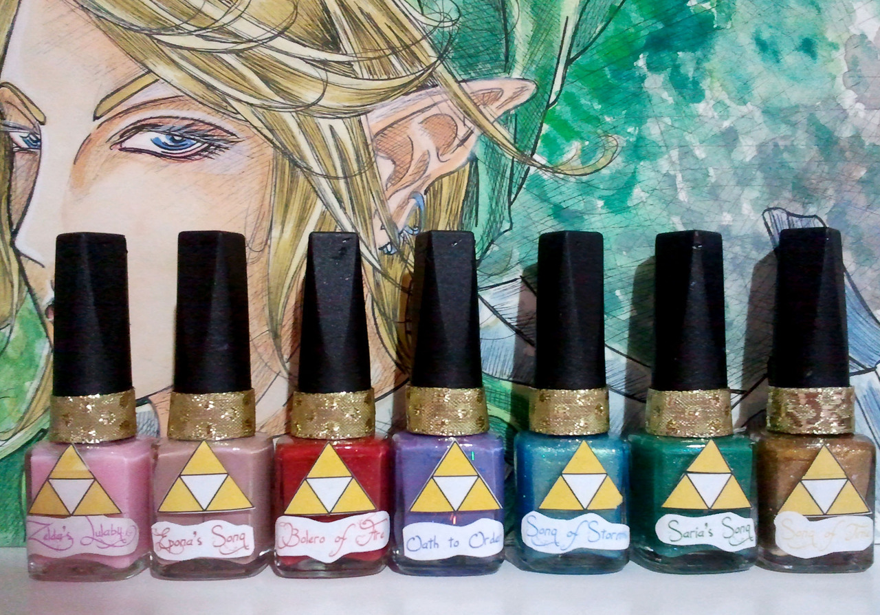 *____* left to right: zelda's lullaby,epona's song, bolero of fire, oath to oader, song of storms, saria's song and song of time <3 my Link fanart http://auroraunit-313.deviantart.com/gallery/#/d4s4j4y