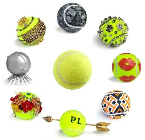 Tennis Balls for Vogue. In celebration of the US Open, which began on Monday, Vogue had the wonderful idea of asking designers, including Diane Von Furstenberg, Tory Burch and Pamela Love, to adorn the commonly practical, mundane tennis ball into something a bit more…fashionable. Image from vogue.com