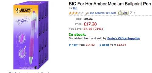 """Bic for her"" might be one of the most ridiculous marketed for women products ever.  But the reviews. The Amazon reviews are genius.  amazon.co.ukamazon.com  And there are so many more out there if you want more giggles."
