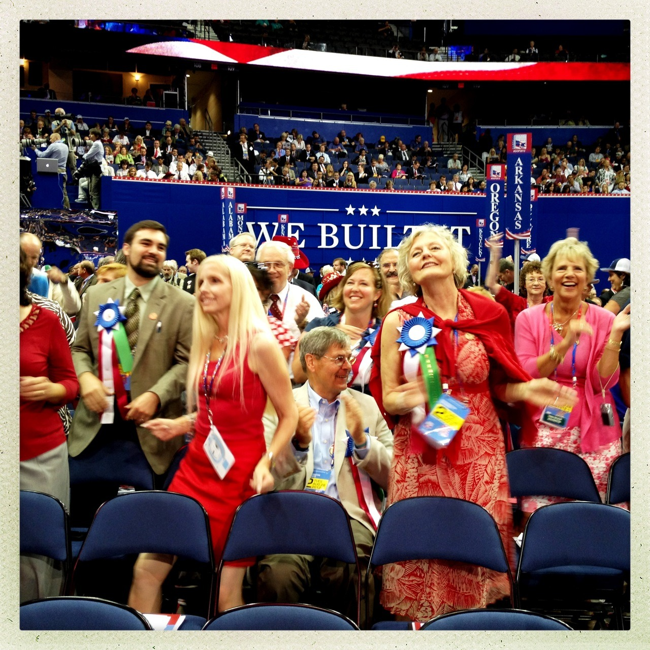 election:  Tampa, FL | August 28, 2012: Delegates dance during the opening session of the RNC in Tampa. —Photo by Benjamin Lowy for Tumblr  Don't forget to check out Tumblr's ongoing live coverage from Tampa (and next week, Charlotte) at election.tumblr.com.