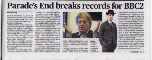 cumberbatchweb:  Article from the Evening Standard on Parade's End's record ratings for BBC2.  に、日本でも放送してくれよぉ… ;ω;`