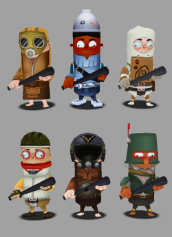 Unreleased Mercenary character models for the LeftOvers mobile game