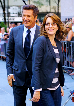 Tina Fey and Alec Baldwin on location for '30 Rock' on August 28, 2012 in New York City.