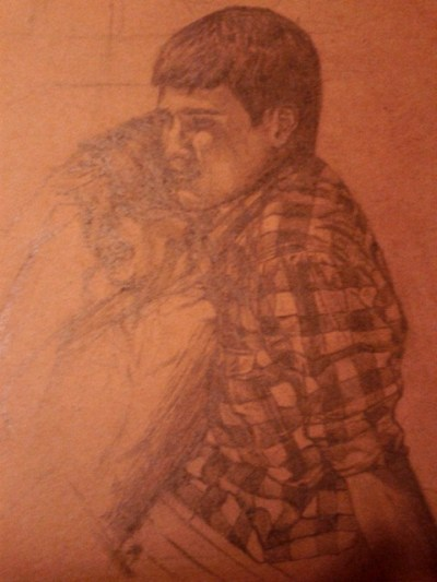 Pencil on brown paper-Unfinished