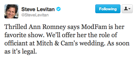mattwilstein:  Steve Levitan reacts to Ann Romney's claim that Modern Family is one of her favorite shows.