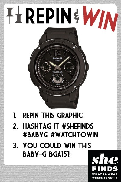 Watch To Win With Baby-G // Pin & Win The reader with the most repins wins a Baby-G BGA151 watch. Make sure to tag #SHEfinds #babyG #watchtowin to your pin in order to enter. Contest ends Fri 9/7. Check out our pinterest board to enter!