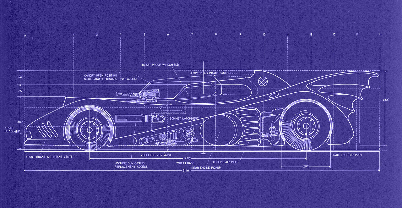 ckck:  Blueprints for a 1989 model Batmobile.