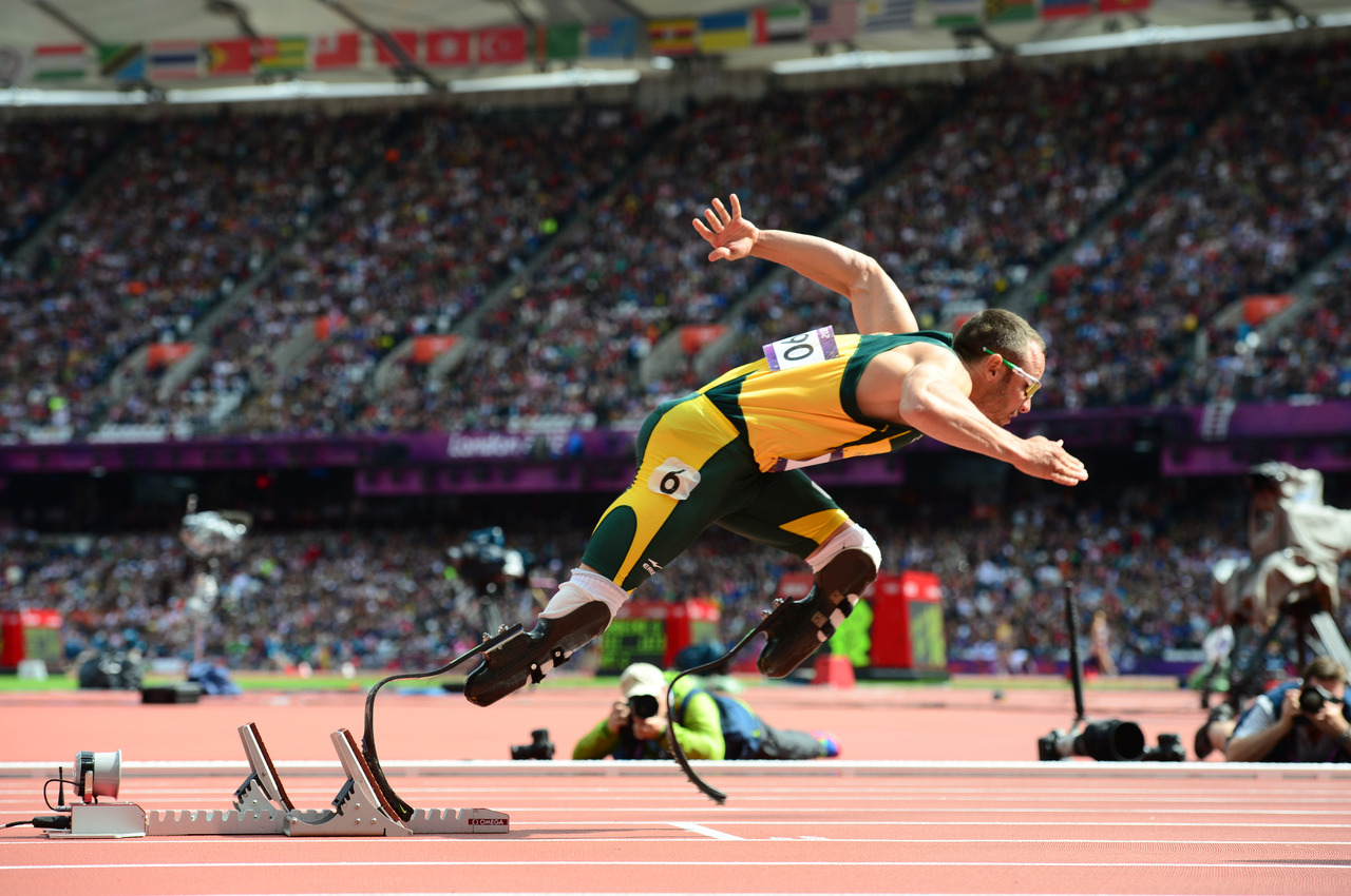 "Oscar Pistorius made history last month when he became the first double-amputee to compete at the Olympics.While the South African ""Blade Runner"" didn't make the medals podium, it's probably only a matter of time before Pistorius or another disabled runner triumphs.Many experts predict Paralympians will soon be outperforming their able-bodied counterparts, thanks in part to future developments in prosthetics.""We're already at the era where prosthetics can outstrip human performance,"" said David James of the Centre for Sports Engineering Research at Sheffield Hallam University. ""With the developments being made in things like powered knees and ankle joints, athletes will soon be flying down the track.""Photo: Olivier Morin/AFP/Getty Images"