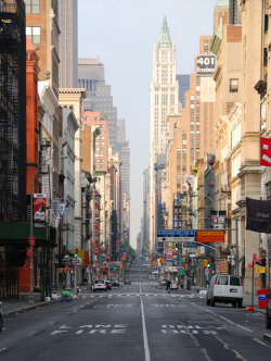 travelingcolors:  Sunday Morning on Broadway | New York (by keithhull)  Observe how New York Island has been graded flattening it's few hills. You can hardly see the two rivers for the tall building that rise up. Manhattan is quite a windy island in fall and winter due the height of high rises and the like. Gusts rattle through Broadway, which originally had a Dutch name.