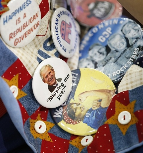 Accessorize! RNC attendees show off their buttons   (Photo: Jae C. Hong / AP) North Carolina delegate Ann Sullivan fashions buttons on her vest at the Republican National Convention in Tampa, Fla., on Tuesday. See more photos in the Photoblog or watch full coverage of the conventions.
