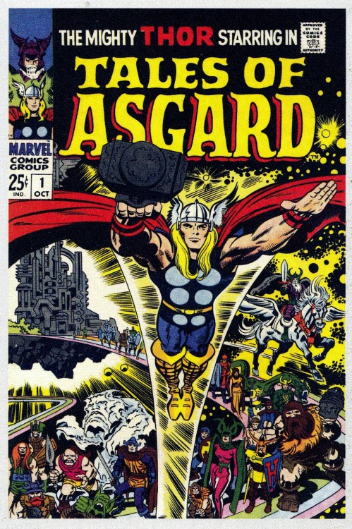 jthenr-comics-vault:  Tales Of Asgard #1 (October 1968)Art By Jack Kirby and Frank Giacoia Kirby drew for thousands of books and did even more covers. Here you can see why Kirby's covers were used for many titles, some he had nothing to do with, and why a Kirby cover usually sold more than any over cover at the time.
