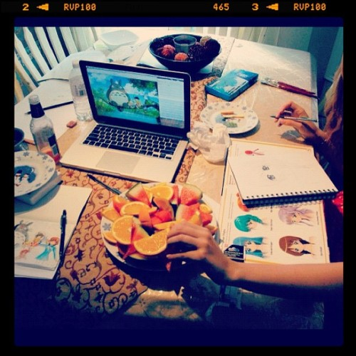 Last day art session with munchies #studioghibli #art #painting (Taken with Instagram)